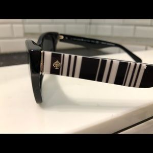Kate Spade black and white striped sunglasses